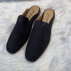 Free People Black Loafer Mules